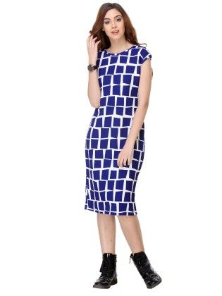 Printed Cotton Royal Blue Dress - Varanga