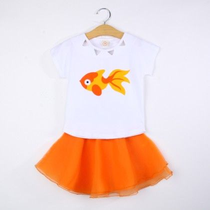 Cute Fish Print Top And Skirt Set - Orange