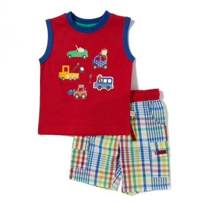 Animals On Car Boys Printed Tee & Short Set- Red - TOFFYHOUSE