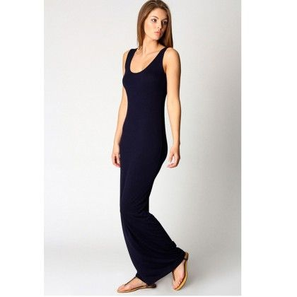 Round Neck Ladies Long Maxi Dress - Black - STUPA FASHION