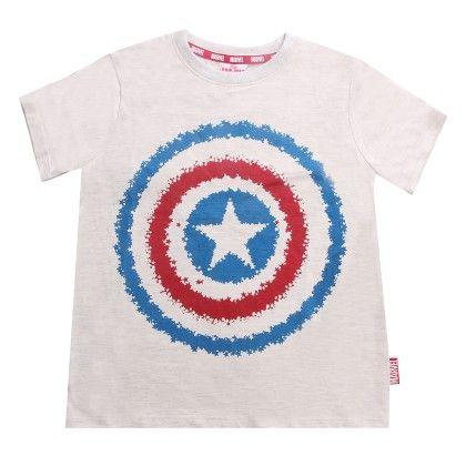 Grey Marvel Captain America Boy's Round Neck T-shirt - Disney