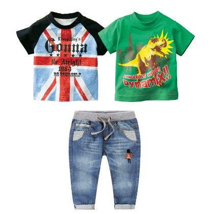 Boy's 3 Piece Blue And Green Printed T-shirts And Denim Set - Dapper Dudes