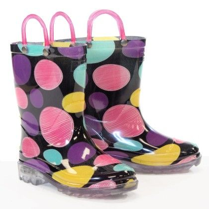 Black Doodle Dot Lighted Rain Boots - Western Chief