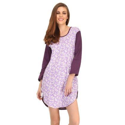 Cotton Comfy Nightdress In Dark Purple - Clovia