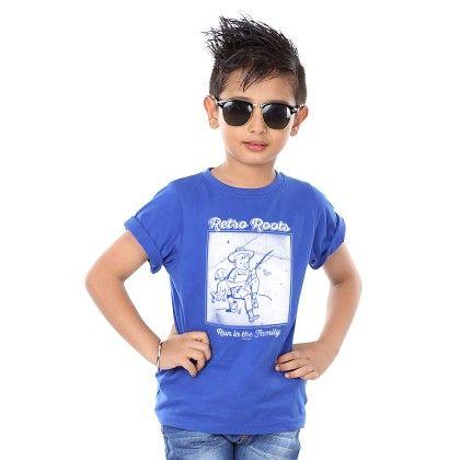 Boys Retro Roots Print Royal Blue T-shirt - BonOrganik