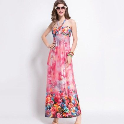 Rose Colour Floral Print Dress - Dell's World
