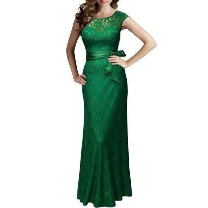 Summer Women Lace Long Dress - Green - STUPA FASHION