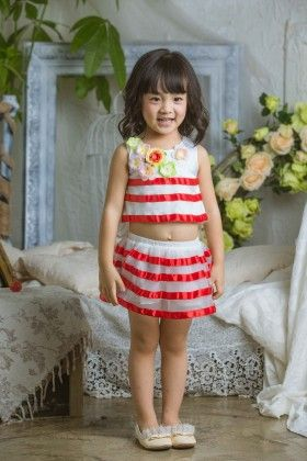 Red Striped Top And Skirt Set - Babudian