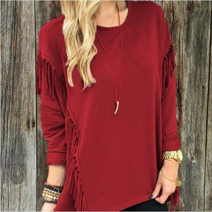 Casual Tassel Red Color Top - STUPA FASHION