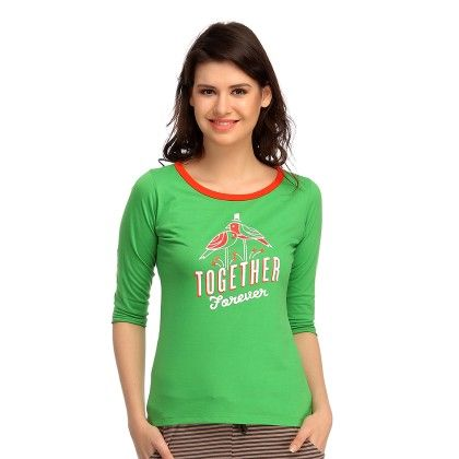 Cotton Comfy T-shirt In Green - Clovia