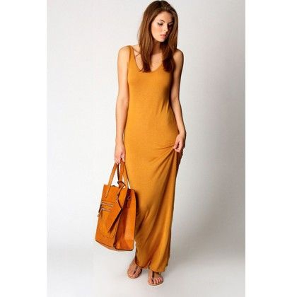Round Neck Ladies Long Maxi Dress - Yellow - STUPA FASHION