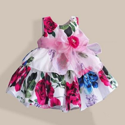 Peach Floral Vintage Style Party Wear Dress - Petite Kids