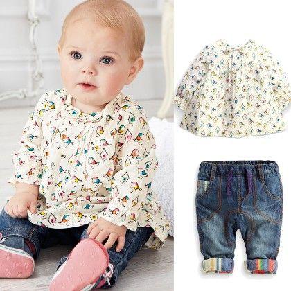 Cute Printed Top And Pants Set - White - AWBOX