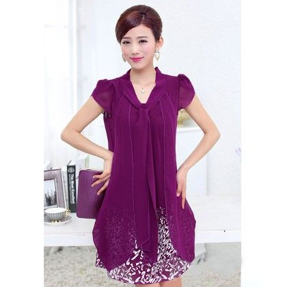 Casual Dress Ladies Female Print Floral Dresse - Purple - STUPA FASHION