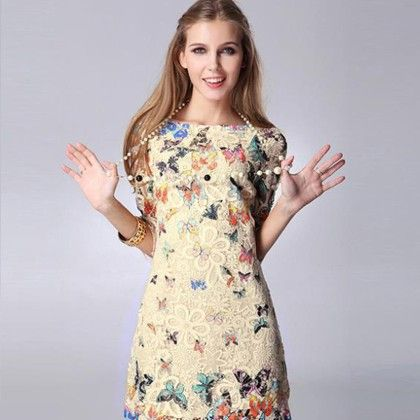 Floral Butterfly Lace Causal Summer Mini Dress - Cream - STUPA FASHION