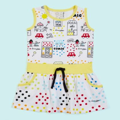 White And Yellow Comic Prints Dress - Lourdes