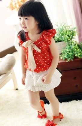 Cute Ruffled Polka Top And Lacy Skirt Set - Red - Mud