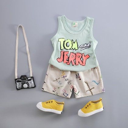 Trendy Printed Vest And Shorts Set - Green - Kuakuayu