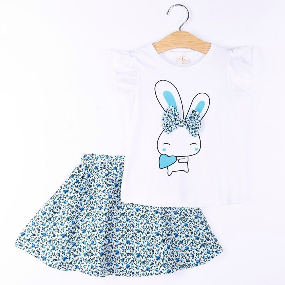 Bunny Print Top And Skirt Set - Blue - H