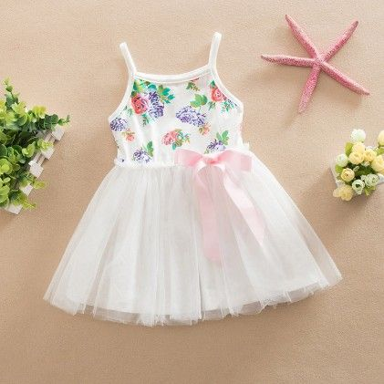 Cute Floral Print Dress With Bow - White - Love Baby