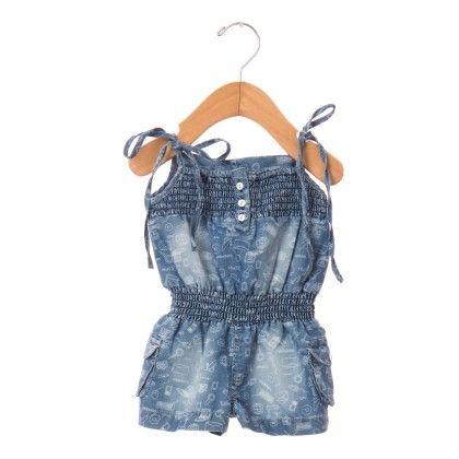 Shoulder Open Denim Jumpsuit - Blue - O'Carina