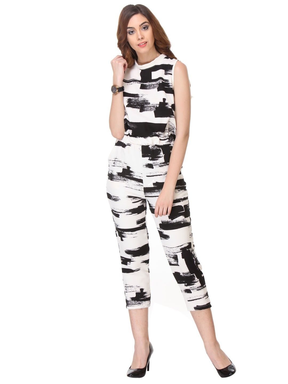 Printed Cotton White Jump-suit - Varanga
