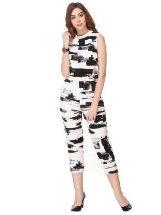Printed Cotton White Jump-suit - Varanga