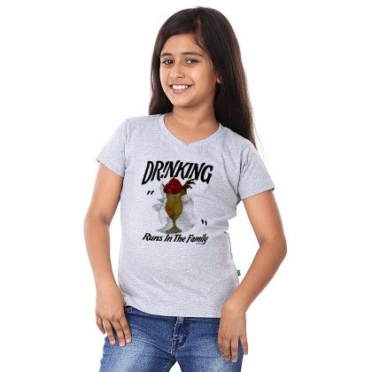 Girl's Drinking Print Grey T-shirt - BonOrganik
