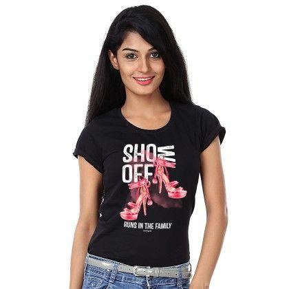 Women Show Off Print Black T-shirt - BonOrganik