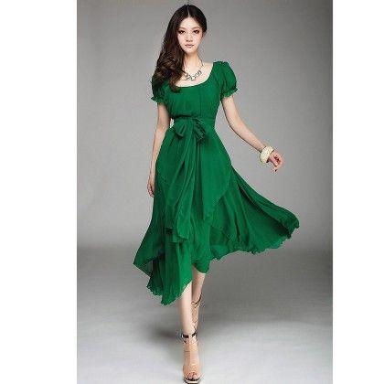Party Evening Chiffon Dress - Green - STUPA FASHION