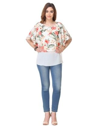 Printed Crepe Off-white Top - Varanga