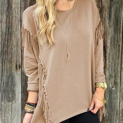 Casual Tassel Khaki Color Top - STUPA FASHION