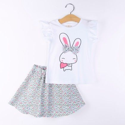 Bunny Print Top And Skirt Set - Pink - H