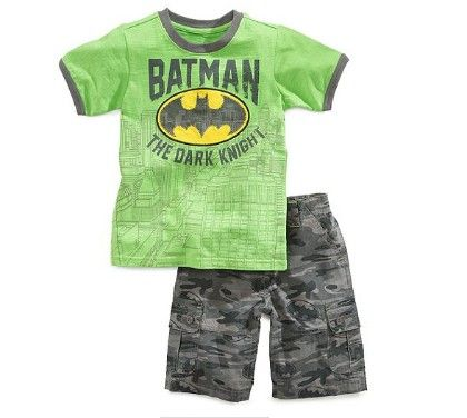 Boys Trendy Printed T-shirt And Shorts Set - Green - MeiQ