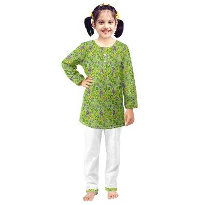 Green Flower Printed Kurta & Pajama Set - Oranges And Lemons