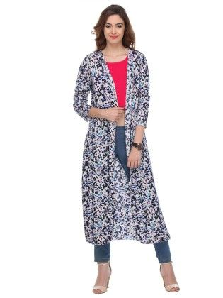 Printed Cotton Multicolor Shrug - Varanga