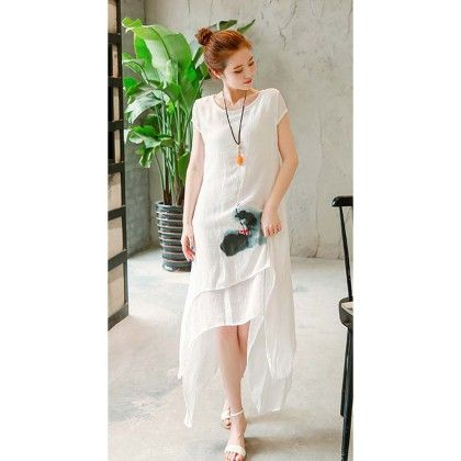 White Linen Short Sleeve Dress - Dell's World
