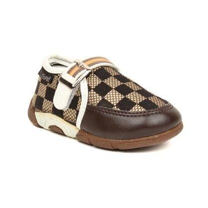 Checks Baby Shoes - Brown - Lilliput