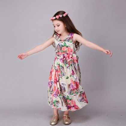 Elegant Floral Print Dress - Multi - Mitun