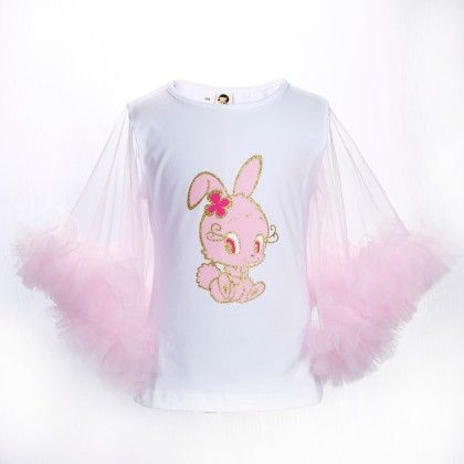 White And Pink Bunny Print Frilled Sleeves Top - Isabella By Princess