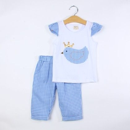 Cute Bird Print Top And Pant Set - Blue - Jumping Baby