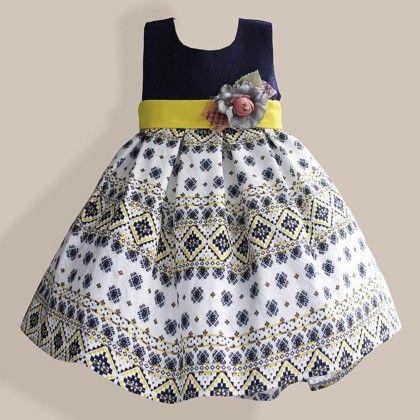 Vintage Navy Printed Party Dress - Petite Kids
