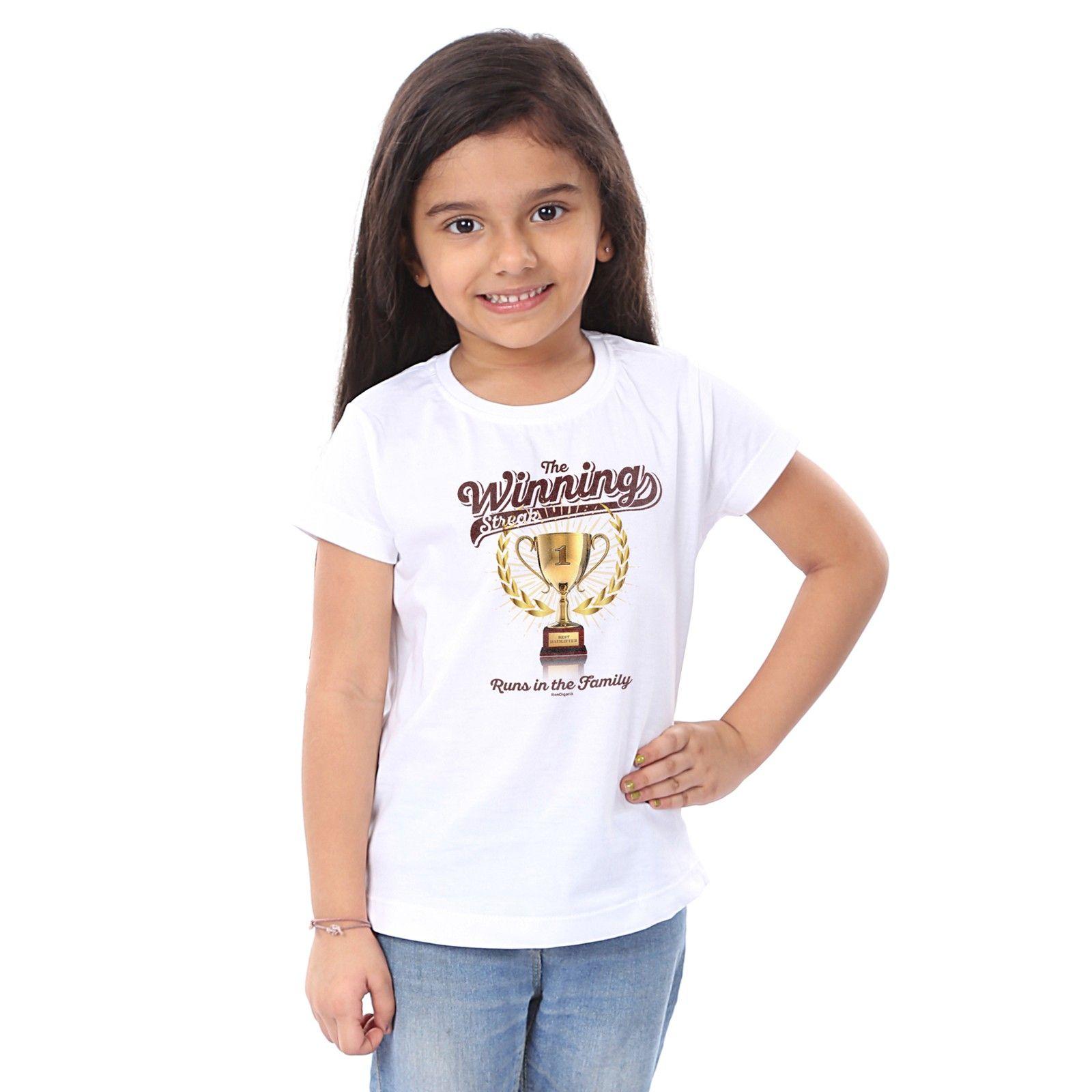 Girl's The Winning Print White T-shirt - BonOrganik