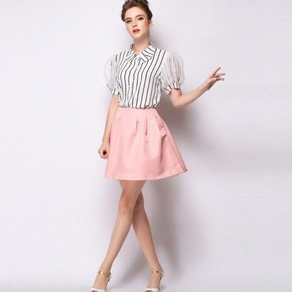 Lovey Stripe Shirt With Organza Sleeve - White - Mauve Collection
