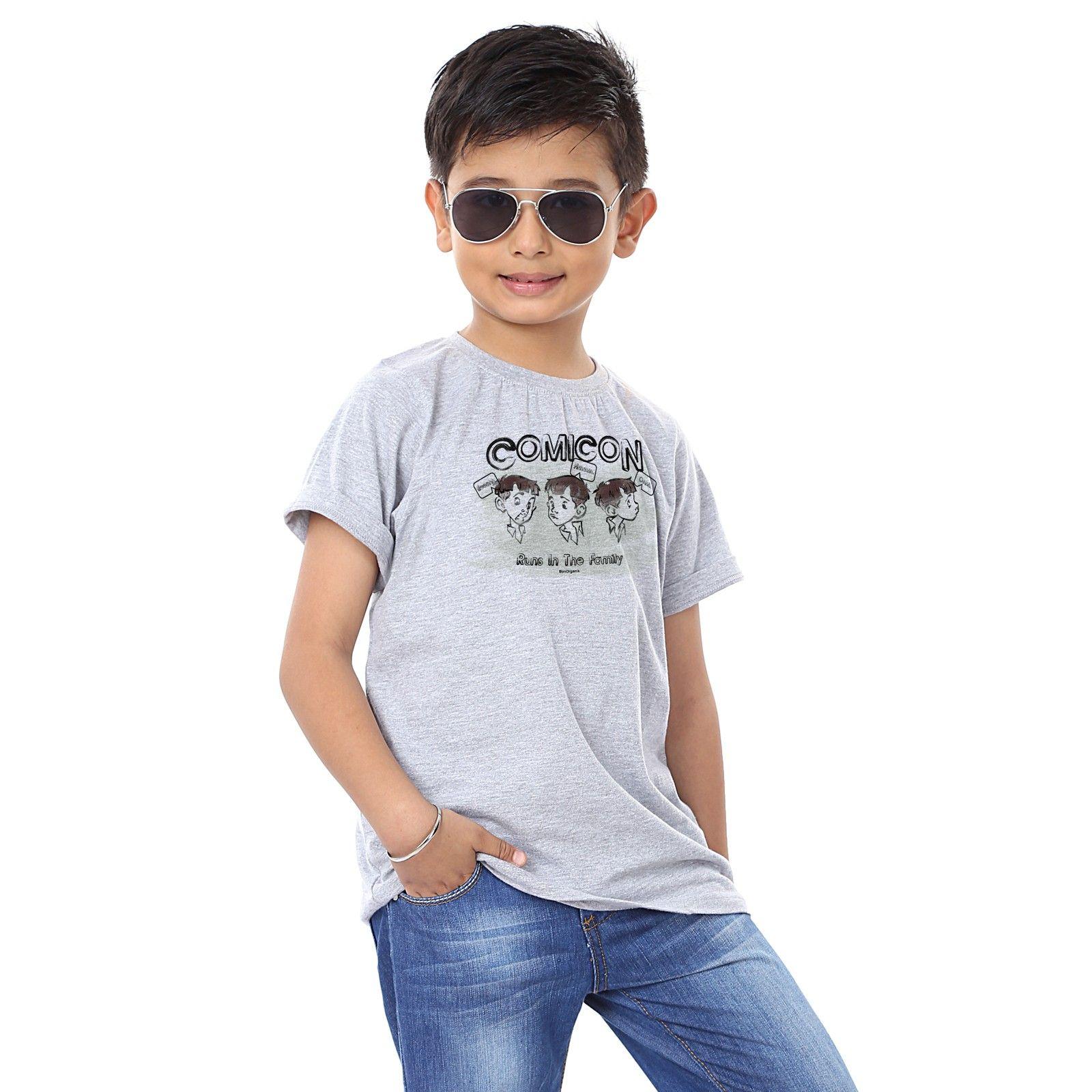 Boy's Comicon Print Grey T-shirt - BonOrganik