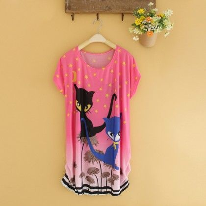 Pink Cat Print Top - Dell's World