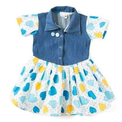 Denim And Blue Heart Printed Cotton Frock With Puff Sleeves - TINY TODDLER
