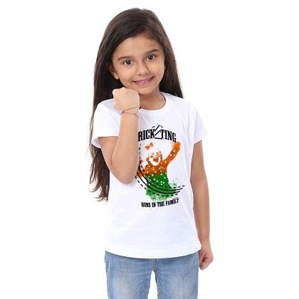 Girl's Cricketing Print White T-shirt - BonOrganik