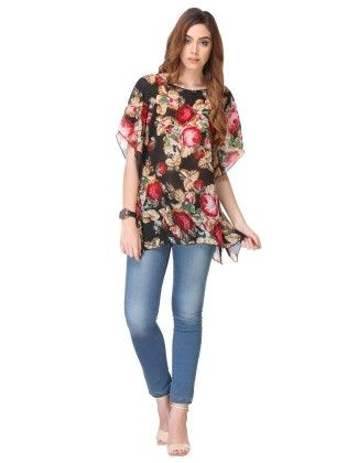 Printed Chiffon Black Top - Varanga