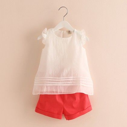 Organza Top And Shorts Set Orange - Mauve Collection